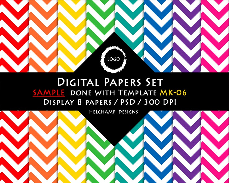High Quality Mockup for 16 or 8 Digitals Papers Sample perfect for your seller shop 1 PSD file with smart object MK-06