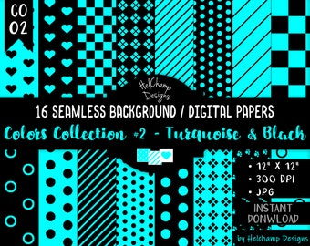 16 Baby Turquoise and Black Digital Papers - High Quality JPEG Papers, Seamless Scrapbook paper, Commercial use - CO-Turquoise / CO1