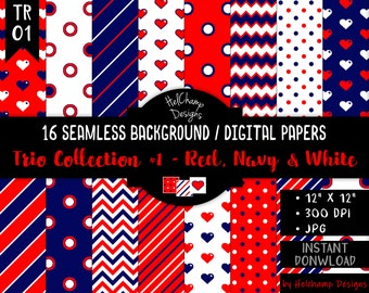 16 Red, Navy and White Digital Papers - High Quality JPEG Papers, Dots, Seamless Scrapbook paper, Commercial use - TR-RedNavyWhite / TRO1