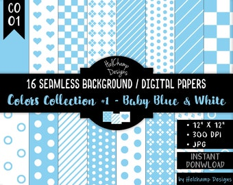 16 Baby Blue and White Digital Papers - High Quality JPEG Papers, Seamless Scrapbook paper, Commercial use - CO-BabyBlue / CO1