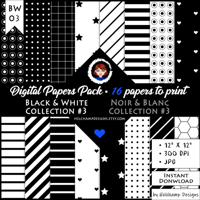 16 Black and White Digital Papers  High Quality Black and image 0