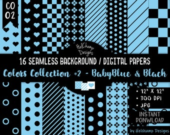 16 Baby Blue and Black Digital Papers - High Quality JPEG Papers, Seamless Scrapbook paper, Commercial use - CO-BabyBlue / CO1