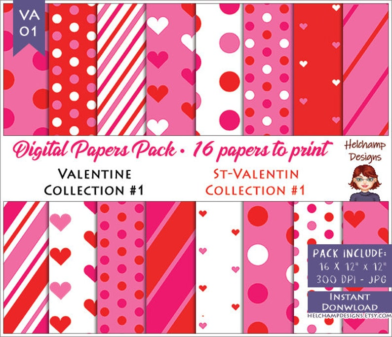 16 Valentine  Digital Papers  High Quality RedPink and White image 0