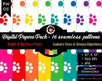16 Big Paws Prints & Bright colors Digital Papers - High Quality Black and White JPEG Papers, Scrapbook paper, Commercial use (PW-08)