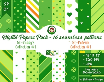 16 St-Paddy Collections #1 Digital paper - High Quality Green, Orange, White and Yellow JPEG Papers, Scrapbook paper, Commercial use (SP-01)