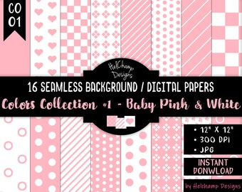 16 Baby Pink and White Digital Papers - High Quality JPEG Papers, Seamless Scrapbook paper, Commercial use - CO-BabyPink / CO1