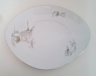 Vintage 1950's Bareuther Bavaria Germany 6121 White Glass Platter Serving Plate Illustrations Late 19th Century Europe Atomic Mid Century