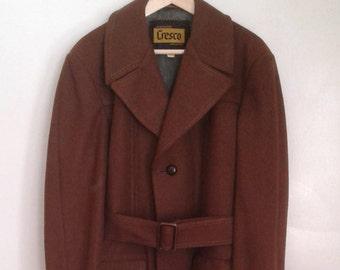 Vintage 1970's Cresco Brown Wool Belted Coat Jacket Stitch Detail Sz 40 Mod Dapper