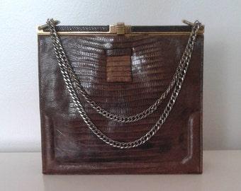 b366c426b630 Vintage 1940 s Lucille de Paris Brown Genuine Lizard Skin Leather Box Purse  Handbag Chain Handle Classic