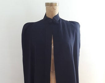 Vintage 1940's Navy Blue Rayon Cape Puffy Shoulders Frog Closure WWII Era Old Hollywood