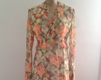 Vintage 1970's Does 1930's Orange Brown Floral Print Chiffon Garden Party Hostess Maxi Dress Sz Small Med