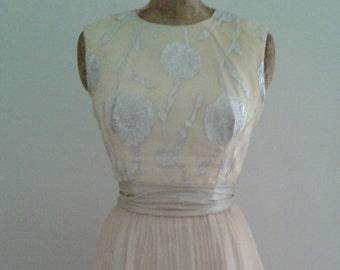 Vintage 1960's Silver Cream Brocade Dress w/Accordion Pleat Tulip Hem Skirt Mod
