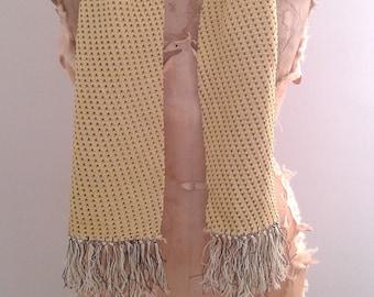 Vintage 1940's Yellow Brown Knit Rayon Opera Scarf Smoking Dapper