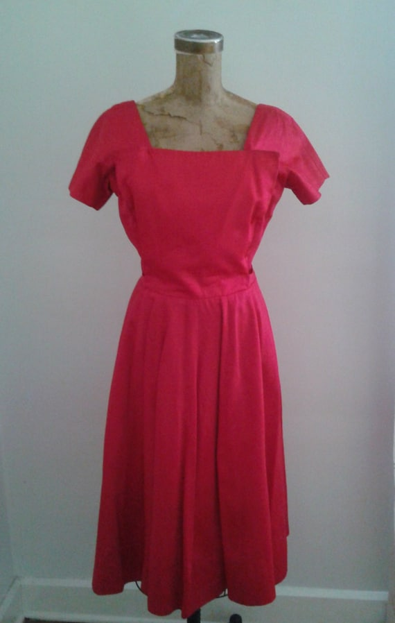 Vintage 1950's Gigi Young Hot Pink Satin Cocktail