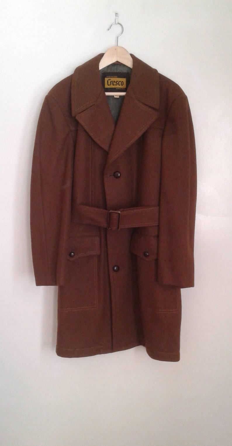Vintage 1970/'s Cresco Brown Wool Belted Coat Jacket Stitch Detail Sz 40 Mod Dapper