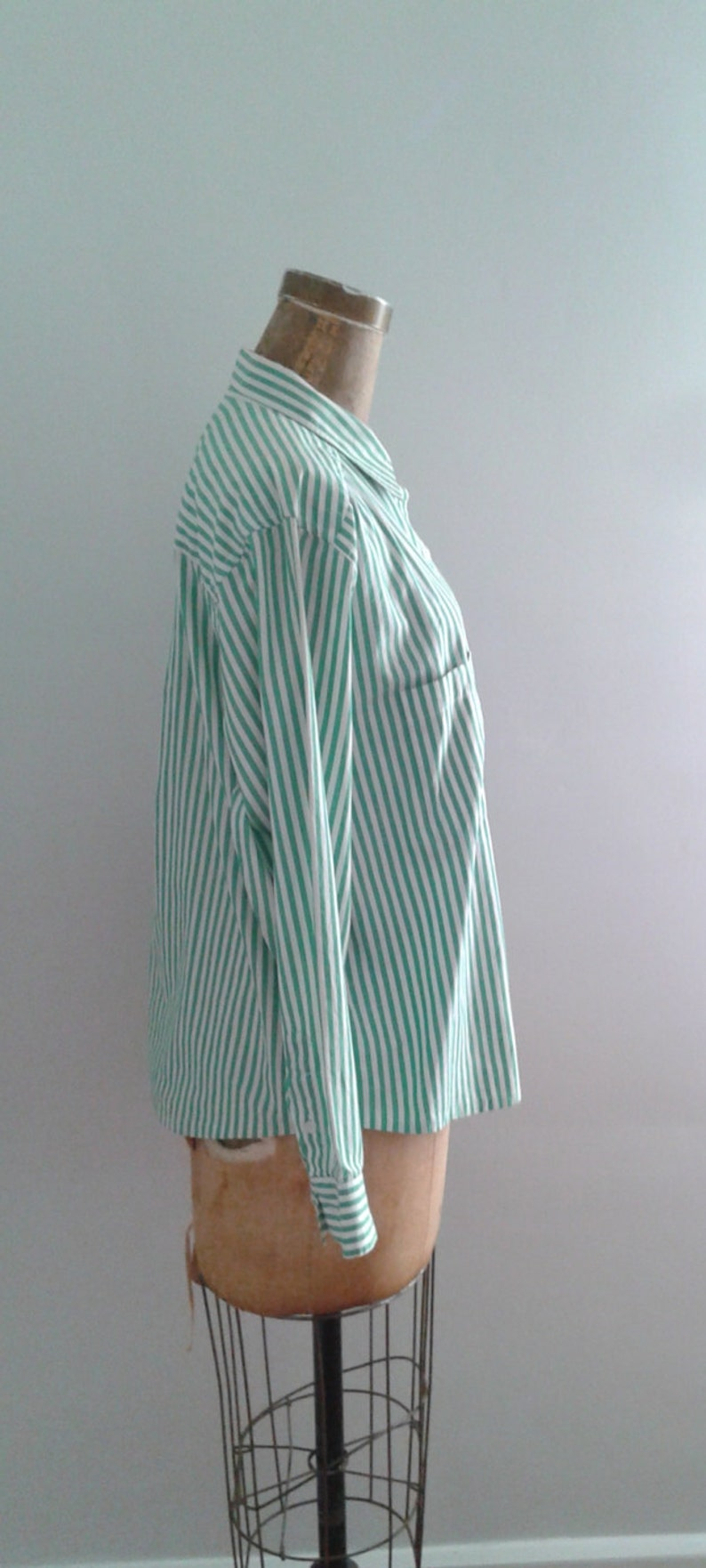 Vintage 1990/'s Green White Striped Cotton Button Up Shirt Blouse Embroidered Crest Sz Med Oversized Minimalist