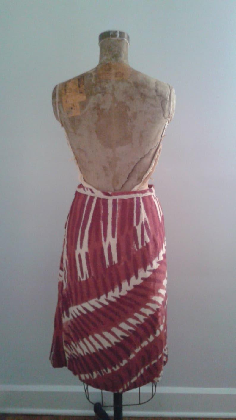 Vintage 1930/'s Burgundy Rose Beige Tribal Print A-line Wool Skirt Pleated Draped Detail W 27 AMAZING