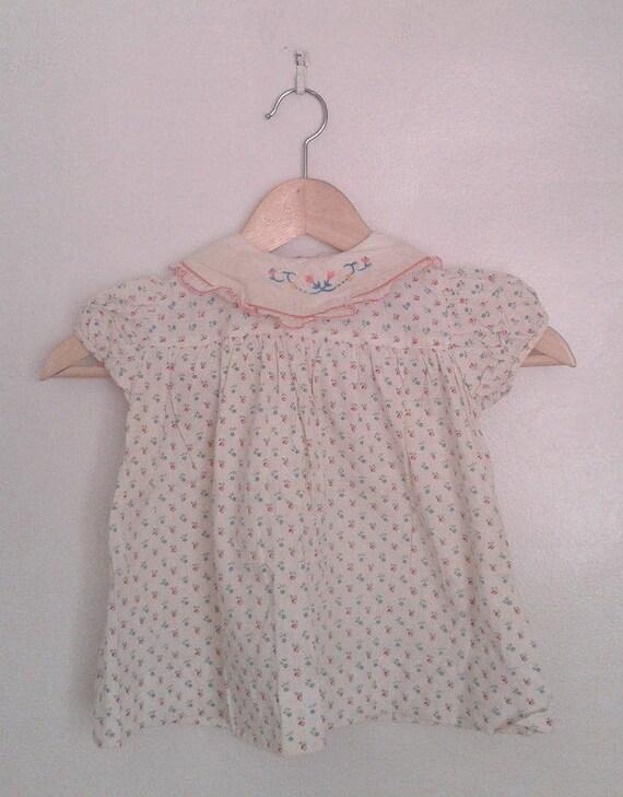 088de0960d1c Vintage 1950 s Baby Girls  Loomcraft Cream Pink Blue