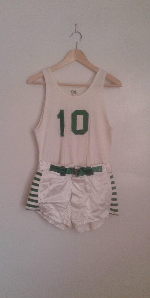 Vintage 1920's 1930's Green White Basketball Unifo