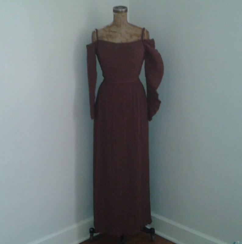 8553db87bf6 Magnifique brun années 1960 plissé robe Dress w manches Miyake