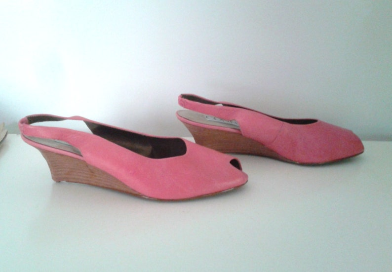 Vintage 1990/'s Bubblegum Pink Leather Open Toe Slingback Wedges Sz 10 Minimalist