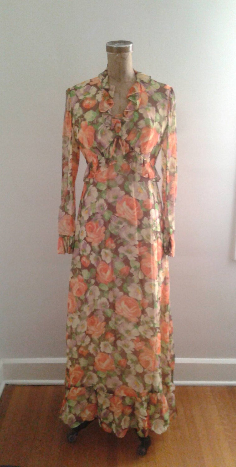 7478cdae09 Vintage 1970 s Does 1930 s Orange Brown Floral Print Chiffon Garden Party  Hostess Maxi Dress Sz Small Med