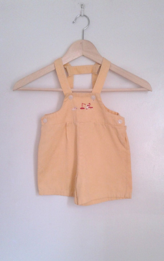 Vintage 1930's Pale Yellow Playsuit Shorts with Su