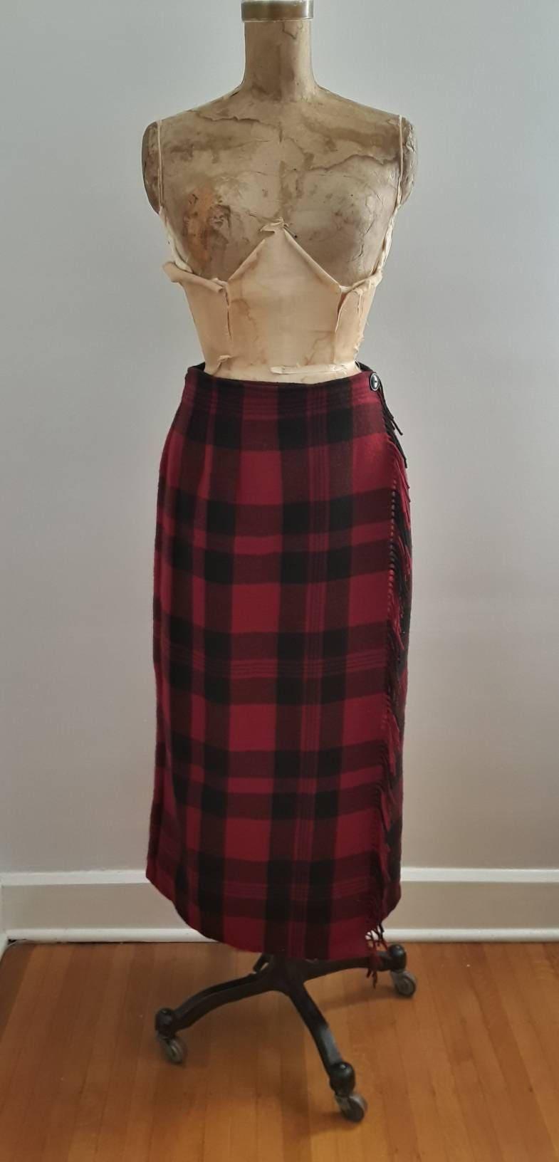 4e9e70ba8 Vintage 1990's Woolrich Red Black Buffalo Plaid Wool Long Wrap Skirt  Blanket Fringe Sz 8 Rustic
