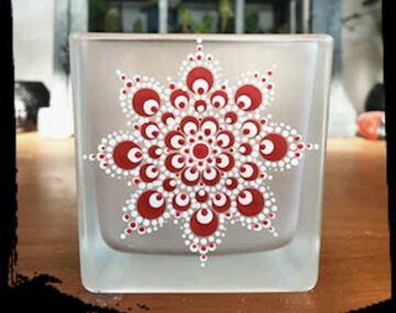 100% Soy Wax  Australian Hand Made Mandala Hand Painted Glassware Red & White