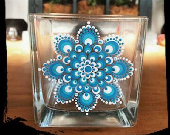 100% Soy Wax  Australian Hand Made Mandala Hand Painted Glassware Island Blue