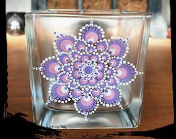 100% Soy Wax  Australian Hand Made Mandala Hand Painted Glassware Baby Pink & Lavender