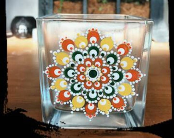100% Soy Wax  Australian Hand Made Mandala Hand Painted Glassware Tuscan