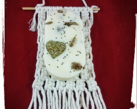 100% Australian Hand Made Oval Soy Wax Space Freshener and Hand made Macrame Holder.