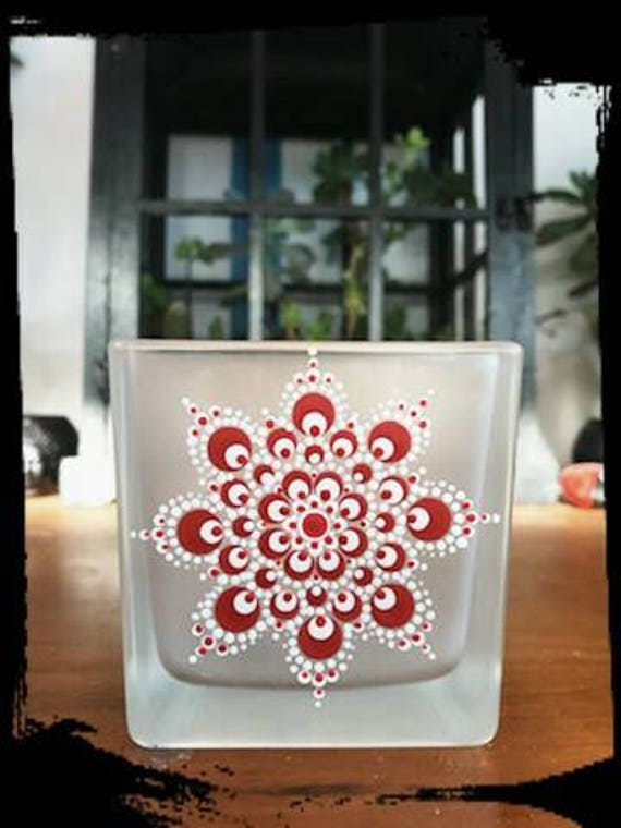 100% Soy Wax  Australian Hand Made Mandala Hand Painted Glassware Red & White