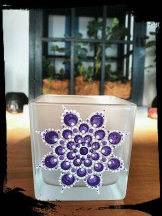 100% Soy Wax  Australian Hand Made Mandala Hand Painted Glassware Violet & White
