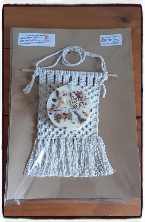 100% Australian Hand Made  Round Soy Wax Space Freshener and Hand made Macrame Holder.