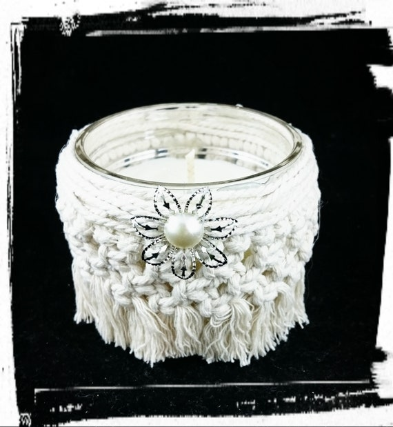 100% Soy Wax  Australian Hand Made Macrame Mason Jar Wrap and  Fragrance Candle