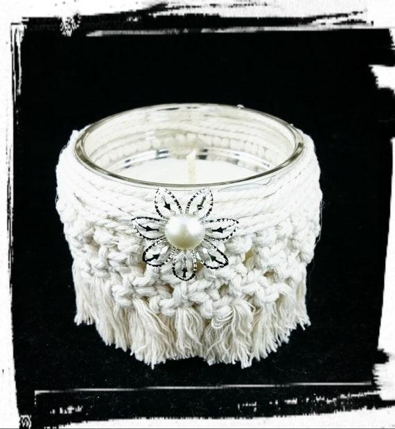 100% Soy Wax  Australian Hand Made Macrame Mason Jar Wrap and  Fragrance Candle