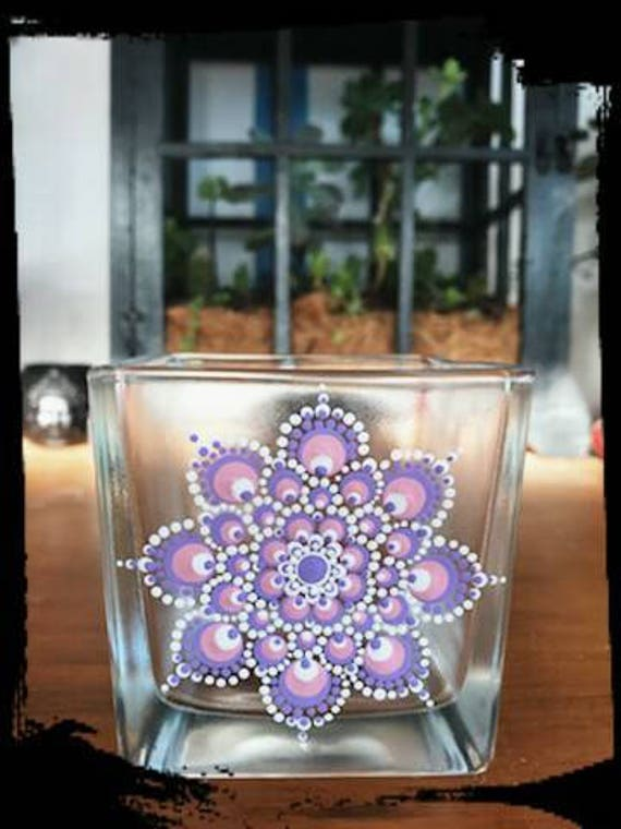 100% Soy Wax  Australian Hand Made Mandala Hand Painted Glassware Baby Pink & Lavender