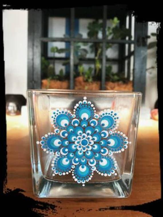 100% Soy Wax  Australian Hand Made Mandala Hand Painted Glassware Island Blue