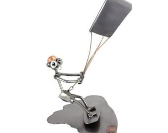 "Nuts and bolts sculpture ""Kitesurfing"" - Handmade ornament figurine"