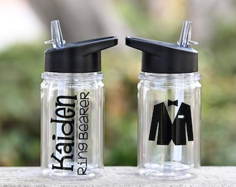 Ring Bearer Gift, Ring Security Gift, Jr Groomsman Gift,  Wedding Party Gifts, Personalized Kids Water Bottle, TUX