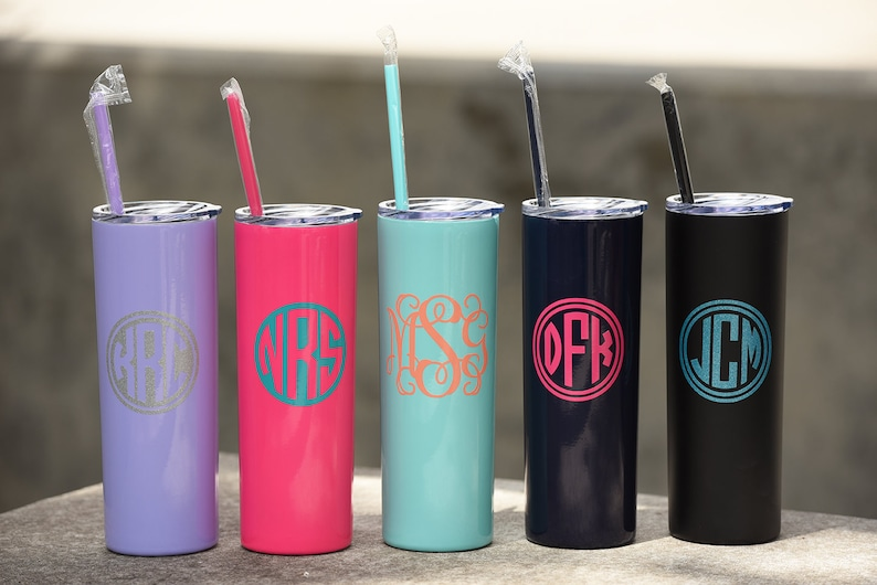 Skinny Steel Monogram Cup Personalized Tumbler Cups