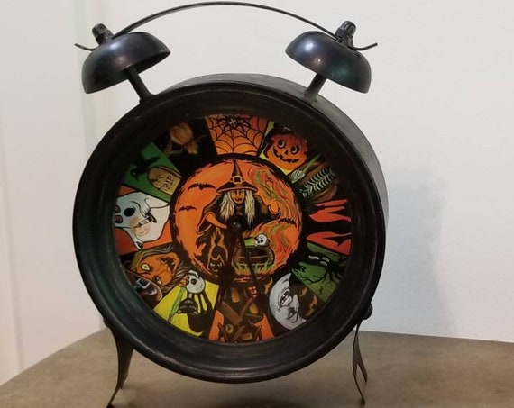 Halloween Beistle Clock, Decorative Vintage,Halloween home decorations,Spooky,Vintage,Halloween gift,Creepy,Gift ideas,hallo,witch,scary,boo