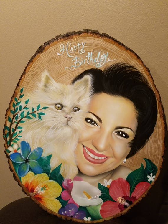 Custom Rustic Oil Portrait on Extra Large Basswood