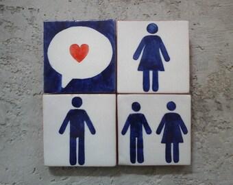 Love sign, Wedding gift, Anniversary gift, Valentine gift, Romantic gift, Love art, Ceramic tiles, Azulejos.