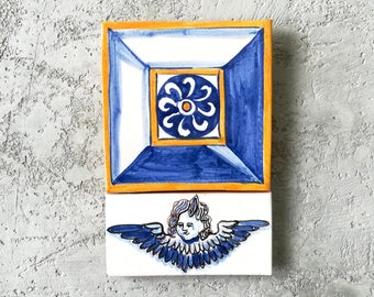Traditional Portuguese tiles; Azulejos; Portuguese tiles panel; Ceramic tiles panel; Ceramic tiles with angel; Traditional tiles.