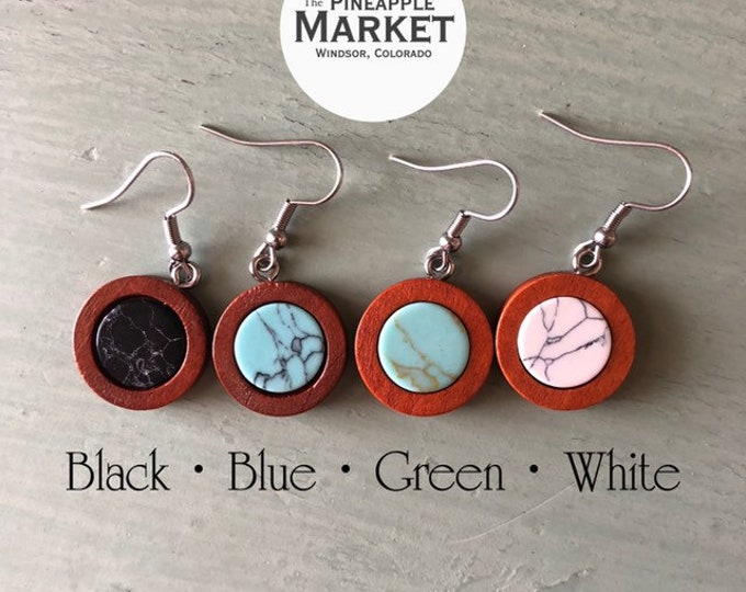 Featured listing image: Dark Wood & Stone Earrings (click for options)