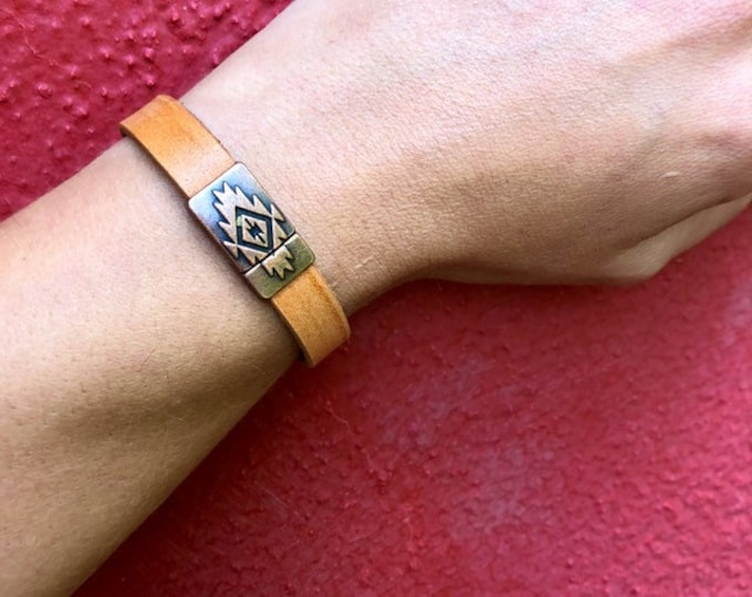 Featured listing image: Aztec Leather Cuff Bracelets // Magnetic