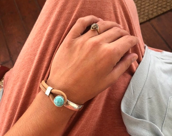 Featured listing image: Leather Cuff Bracelet - Antiqued Silver & Turquoise Howlite (click for options)